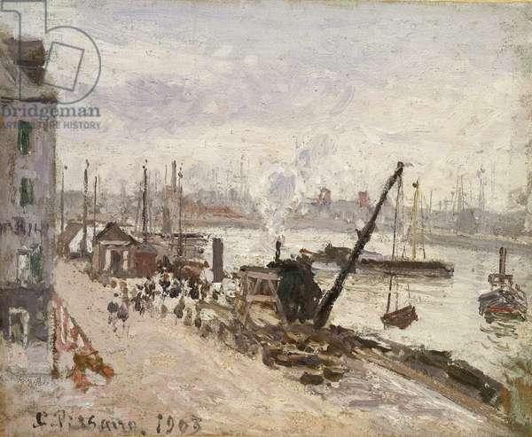 Quayside at Le Havre, 1903 (oil on batiste)