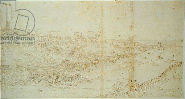 View of Segovia, 16th century (pen and ink on paper)