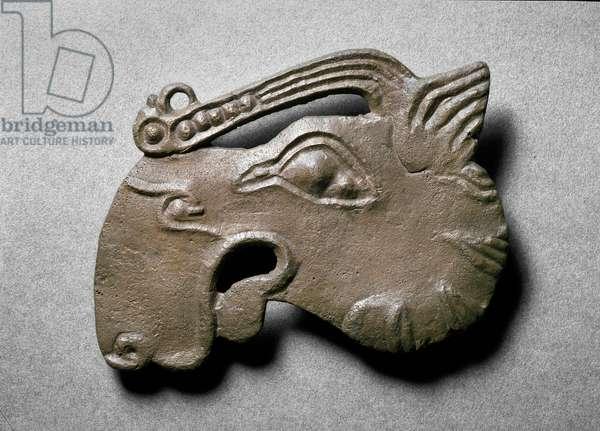 Elk's head plaque, from Grave VI at Nymphaeum (bronze)