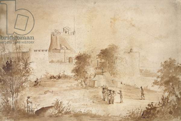 View of a military fortress, Christiansfort, Charlotte Amalie, St Thomas, West Indies, 1852 (brown wash over pencil)