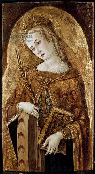 St. Catherine of Alexandria, 15th century (oil on panel)