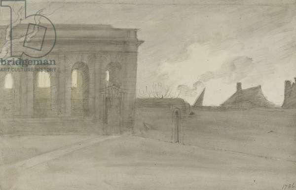 Pembroke Coll. Oxon., 9 November 1786 (grey and bistre washes over graphite)