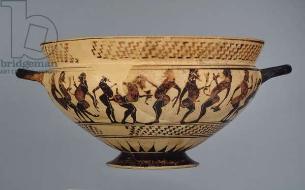Middle corinthian cup decorated with sixteen padded dancers or Komasts, possibly from Cerveteri, c.600-575 (ceramic)