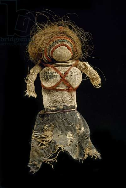 Rag doll, 350-60 (woven dyed wool, undyed flax & human hair)