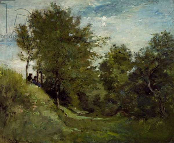 Landscape with Figures seated on a Bank, late 1870s (oil on canvas)