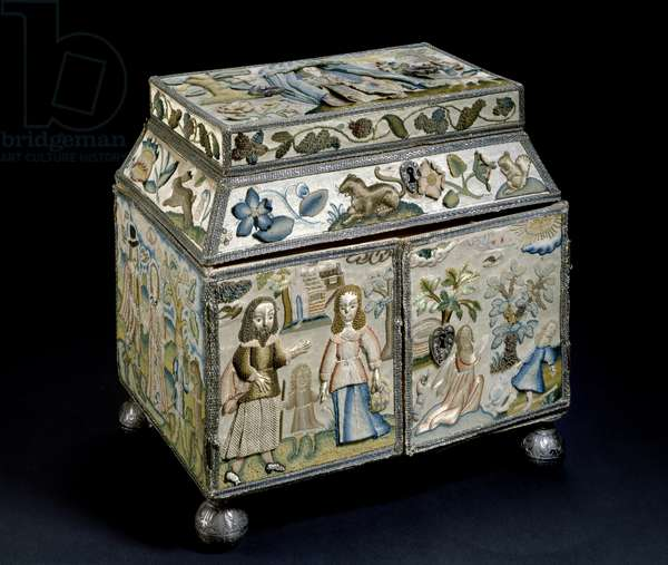Embroidered box: Scenes from the Life of Abraham, c. 1665 (mixed media)