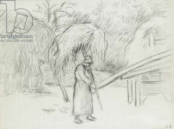 Study of a female peasant carrying a load of hay in the farmyard at Foucault, c. 1875 (charcoal)