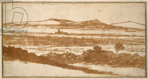 View across a Valley towards distant Hills (brush and reddish-brown wash, on off-white paper, laid down on a white card mount)