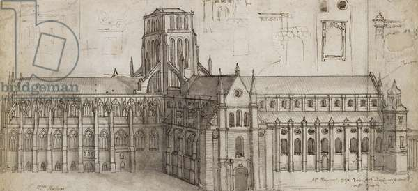 Old St Paul's Cathedral from the north-east (Pen and brown ink and grey wash over graphite, incised and rubbed for transfer)