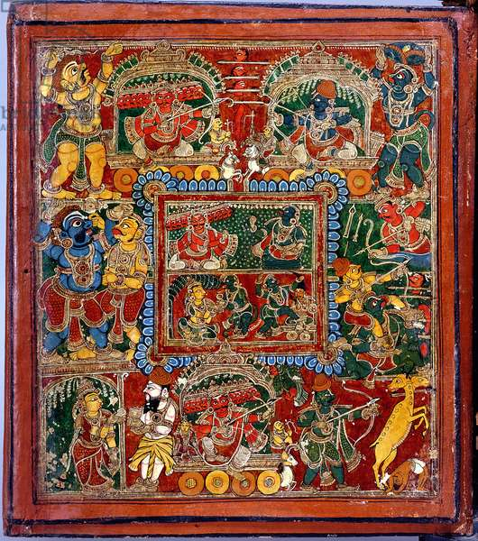 Scenes from the Ramayana epic, Indian, c.1900 (mixed media on wood) (detail)