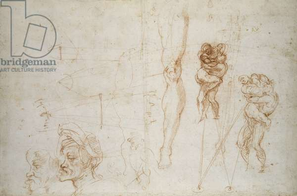 Hercules and Antaeus and other Studies, c.1525-28 (chalk on paper)
