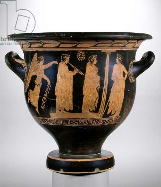 Attic red-figure krater depicting Nike and three figures wearing laurel crowns (pottery)