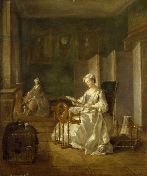 Interior with Two Figures, 18th century (oil on canvas)