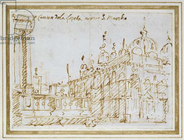 Venice: St Mark's and the Loggetta (pen and brown ink)