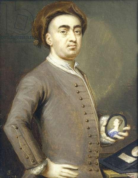 Self Portrait, 1724 (miniature) (gouache on paper)