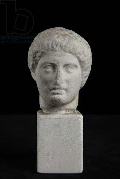 Cast of head of Dioskouros from Nemesis statue, base by Agorakritos, Rhamnous, Greece, original dated 420 BC (plaster)