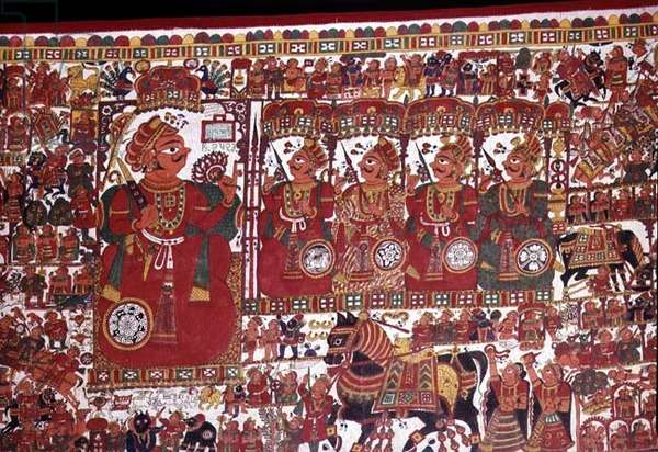Par Cloth, made for the travelling folk priest Chotuji as a portable temple for the god Pabuji, Bhilwara, South East Rajasthan, 1983 (painted cloth)