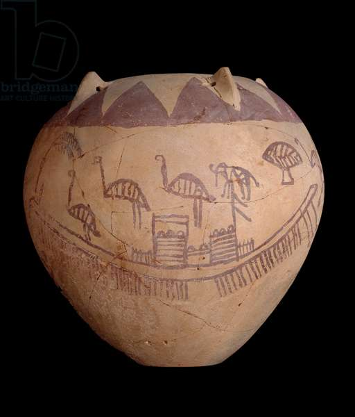 Fired clay jar with painted decoration, including boats and animals, c.3400-3300 BC (clay)