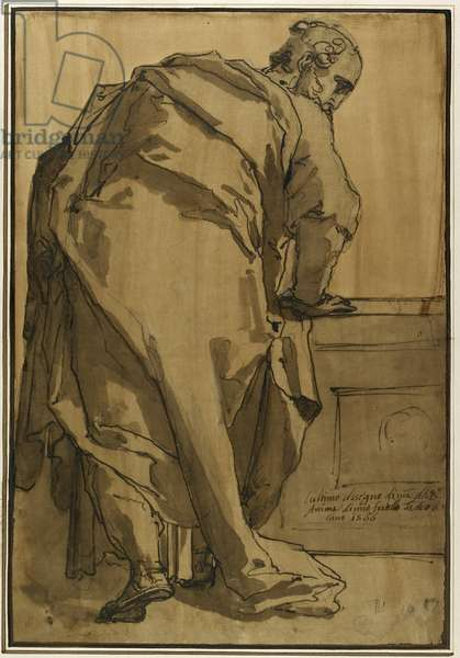 A Heavily Draped Apostle Seen from Behind, 16th century (pen & ink on paper)