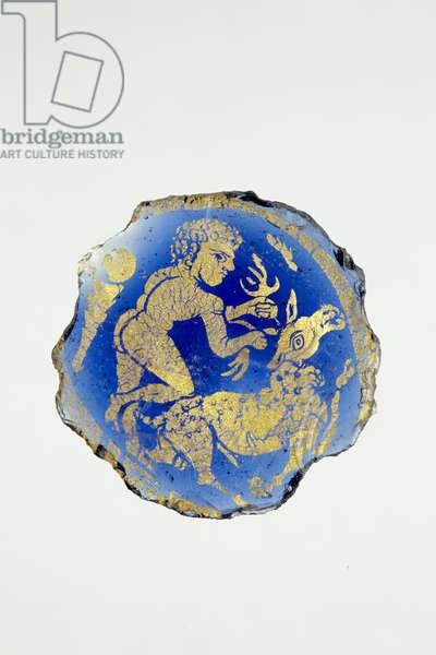 Medallion with Hercules, nude, with right knee on Cerynian stag, 3rd-4th century AD (gold & glass)