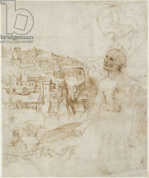 Recto: View of the city of Perugia, with the Penitent St Jerome in the foreground, WA1846.10 (pen & brown ink on white paper)
