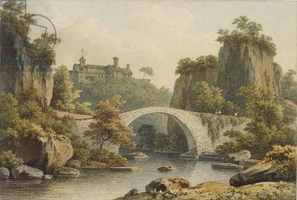 A view of Civita Castellana (w/c on paper)