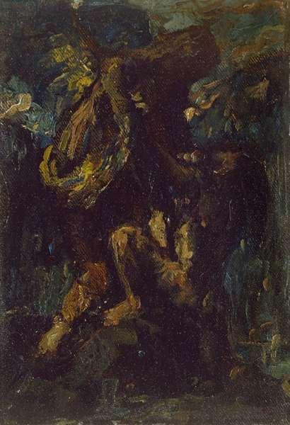 Jacob wrestling with the Angel (oil on canvas, stuck on panel, mounted as a drawing)