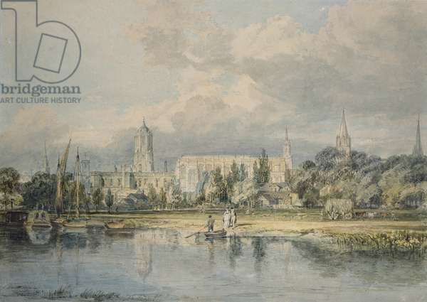 South View of Christ Church from the Meadows, 19th century (pencil & w/c on paper)