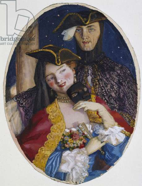 Couple dressed for a Venetian Carnival, 1930 (Bodycolour over traces of graphite on cream paper)