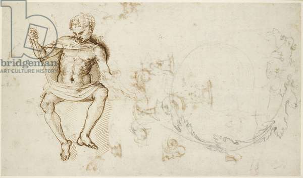 Recto: Studies of a seated man, and of acanthus foliage , WA1846.147 (pen & brown ink over some leadpoint on paper)