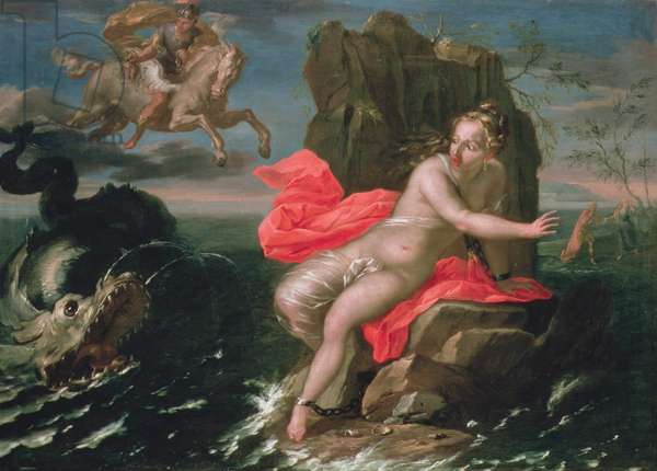 Perseus and Andromeda, Bolognese School (oil on canvas)