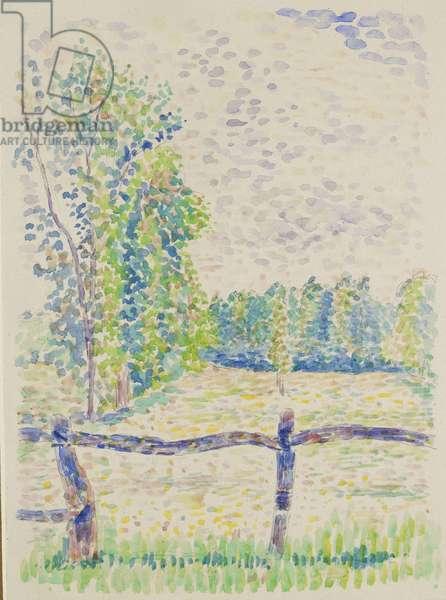 La Barrière, Eragny Meadows, c.1886 (watercolour over graphite on white paper)