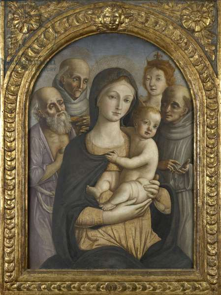 The Virgin and Child with SS. Jerome, Bernardino of Siena, Catherine of Alexandria and Francis, 15th century (oil on panel)