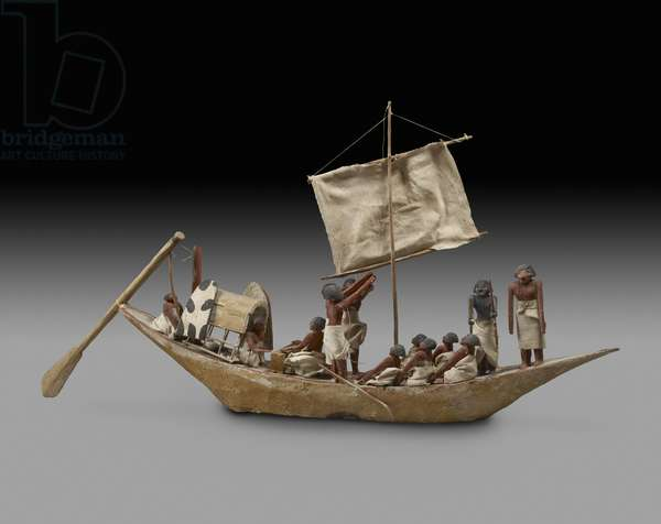 Model war boat with sail, oars and 14 figures, 9th-11th Dynasty (c.2125-1940) (wood, gesso, textile, paint, linen & string)