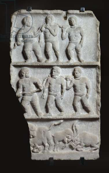 Marble relief with 3 registers: slaves in chains and animals, c.200 AD (marble)