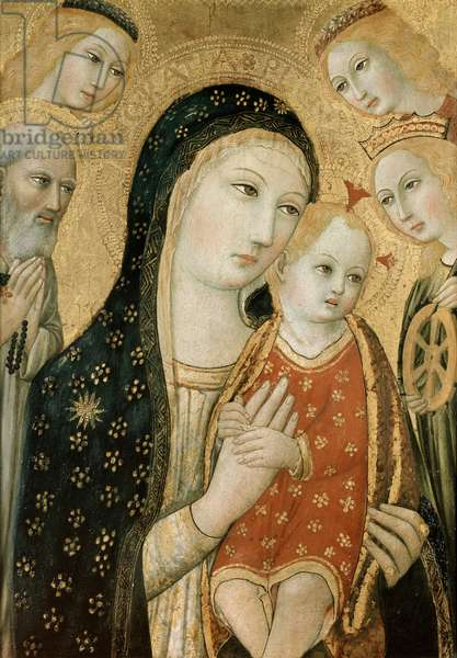 Madonna and Child with SS. Dominic and Catherine of Alexandria, 15th century (oil on canvas)
