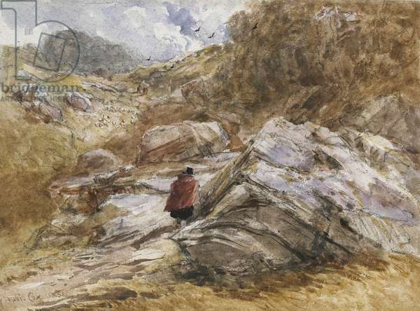 Mountain Pass at Bettws-y-Coed, 1851 (watercolour over black chalk)