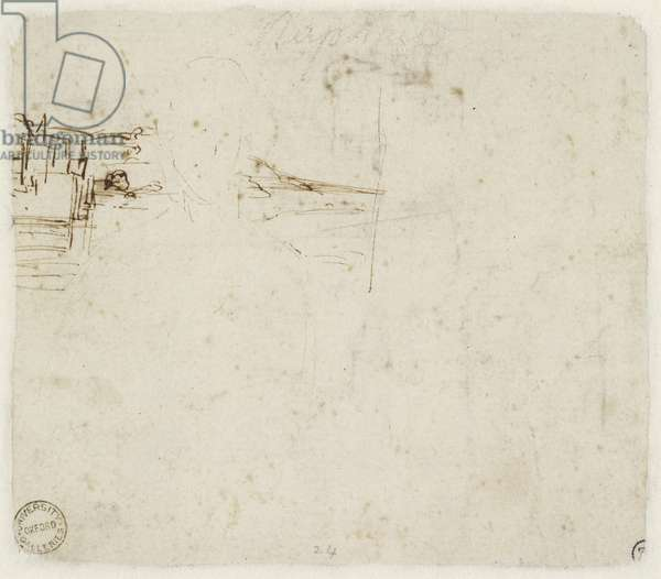 Verso: Landscape Sketch with a brief Study of the Virgin Mary's head turned to left, WA1846.152b (pen & brown ink over blind stylus)