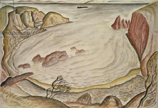 A Ship off Ynys Byr, 1925 (w/c on paper)