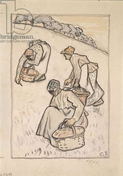Women weeding the grass (pen and Indian ink with w/c over charcoal on paper)