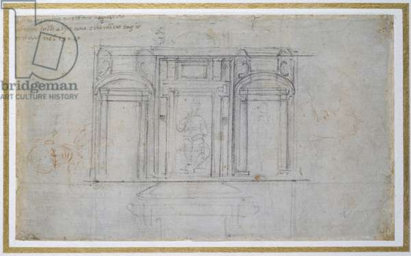 Study of the Upper Level of the Medici Tomb, c.1520 (black & red chalk on paper)