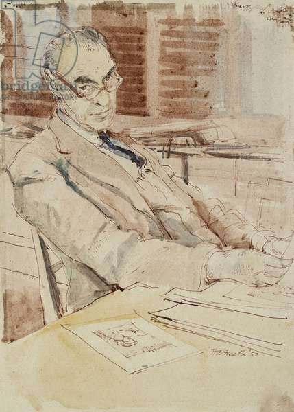 Portrait of Sir Karl Theodore Parker, C.B.E. (Keeper of the Department of Western Art 1934-1962), 1952 (pen and red ink, with watercolour)