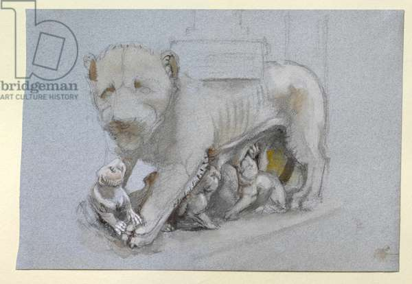 Sketch of Lioness and Cubs from Nicola Pisano's Siena Pulpit, June 1870 (watercolour and bodycolour over graphite on blue-grey wove paper)
