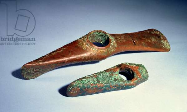 Axe adze from Belgrade; axe hammer from Czechoslovakia, Copper Age (copper)