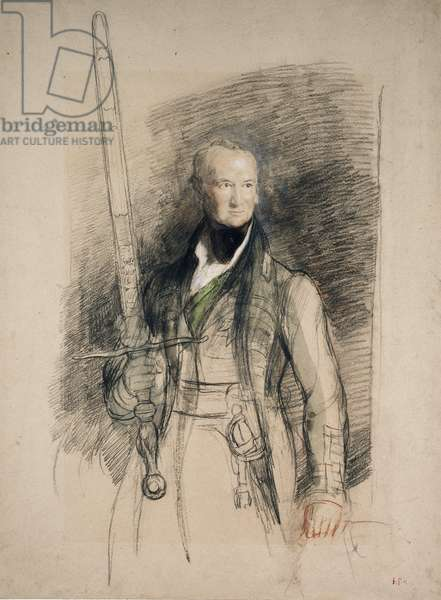 The Earl of Morton carrying the Sword of State, 1824 (black & red chalk with w/c & bodycolour on greyish paper)