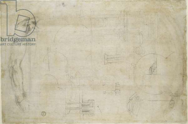 Architectural studies and A Man's Arm, c.1538-50 (black chalk on paper)