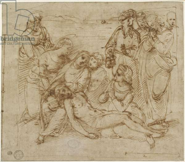 The Lamentation (study for the Entombment of Christ), WA1846.170 (pen & brown ink over geometrical indications in blind stylus)