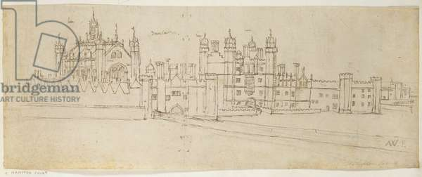 The Chapel and Gatehouse of Hampton Court, c.1544 (pen and ink on paper)