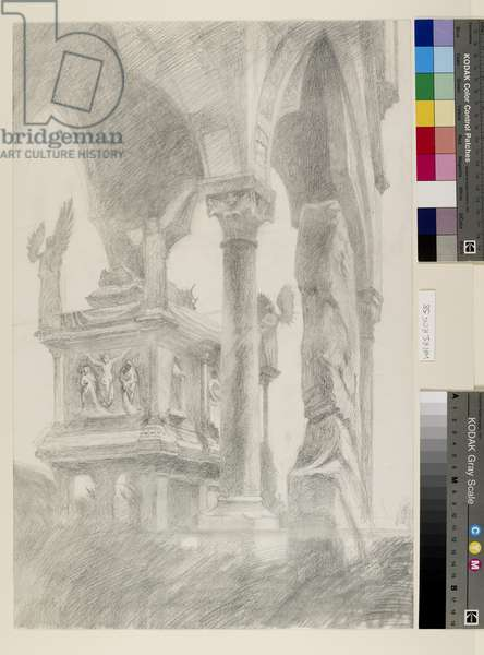 Study for General Chiaroscuro of the Sarcophagus and Canopy of the Tomb of Mastino II della Scala at Verona, c. 1869 (graphite on paper)