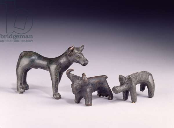 Two bulls, from Hungary and a boar, from Gower Cave, Rhossilly, South Wales, Iron Age (bronze)